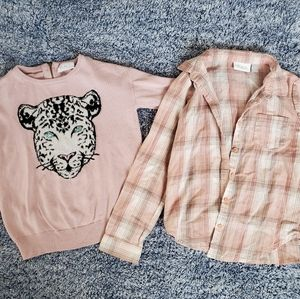 Girl's sweater and long sleeve button up